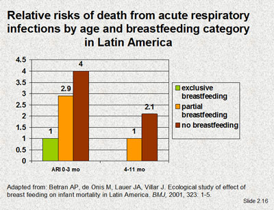 Relative risks of death from acute respiratory infections by age and breastfeeding category in Latin America